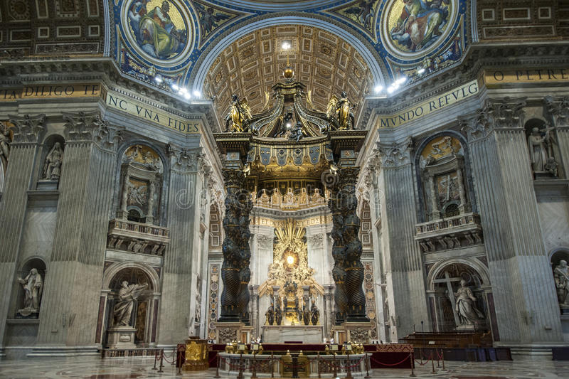 St. Peters Basilica Rome, Italy. St. Peters Basilica Inside, Bernini`s Baldacchino. Rome Italy royalty free stock photography
