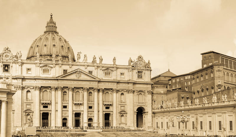 St. Peters basilica, Vatican, aged photo. Front view of famous Saint Peter's basilica in Vatican Rome, Italy. Aged photo royalty free stock photo