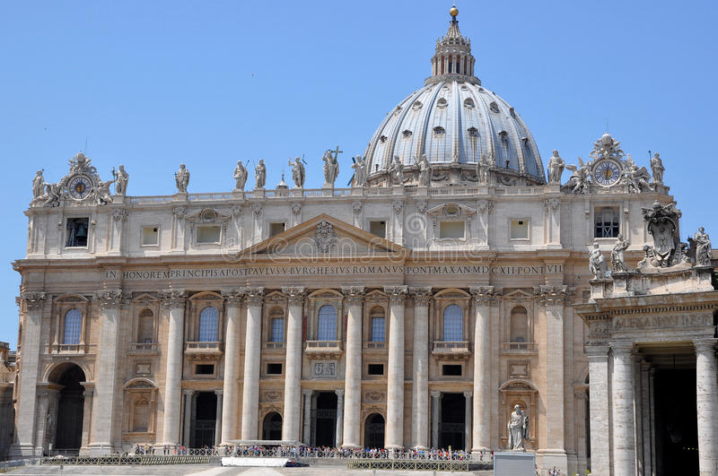 St. Peters Basilica Vatican City. St. Peters is regarded as one of the holiest Catholic sites. It is a Renaissance church royalty free stock photos