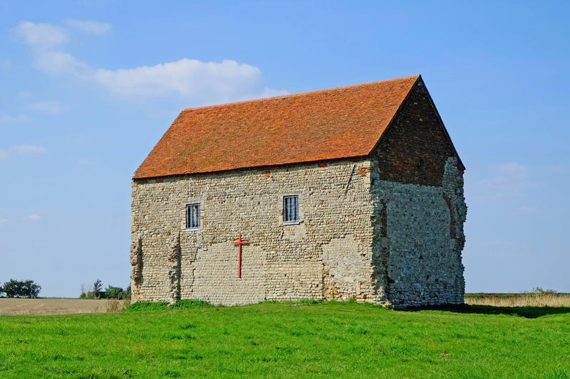 St Peters Chapel Bradwell. The Saxon Chapel of St Peters-on- the- Wall at Bradwell on Sea Essex was built by St Cedd in 654 AD. He used stones from the nearby royalty free stock photos