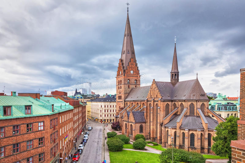 St. Peters Church in Malmo, Sweden. St. Peters Church is an architectural landmark of Malmo, Sweden stock photos