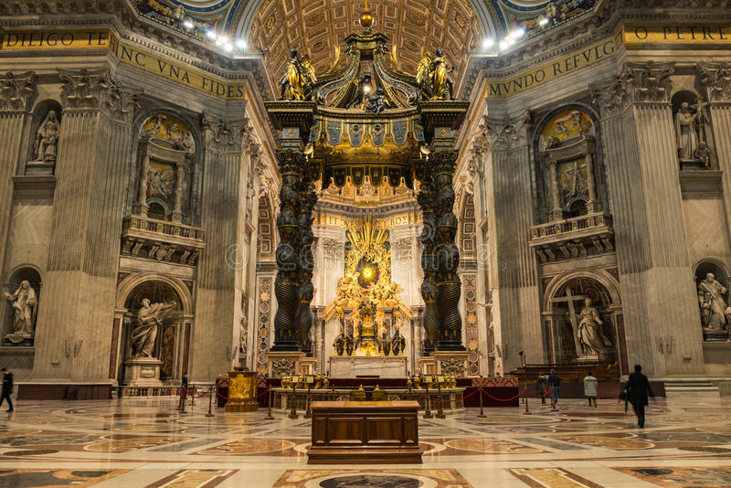 St Peters interior. Interior of Saint Peter`s Basilica with Bernini`s Baldacchino and main altar royalty free stock images