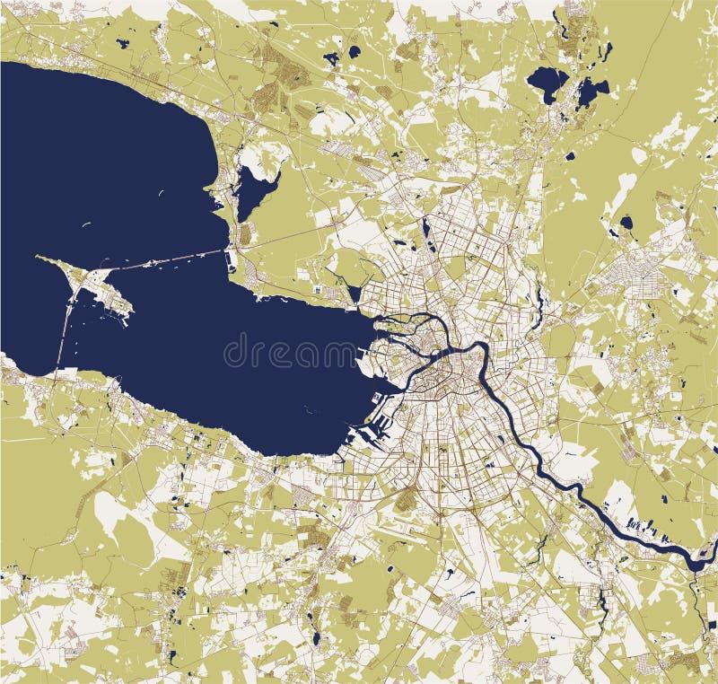 St Petersbourg de carte, Russie illustration libre de droits