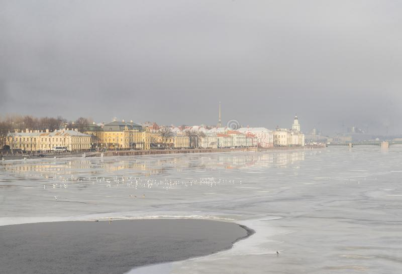St. Petersburg, Neva, river, buildings, spring, ice on the river, view of St. Petersburg, landscape royalty free stock images