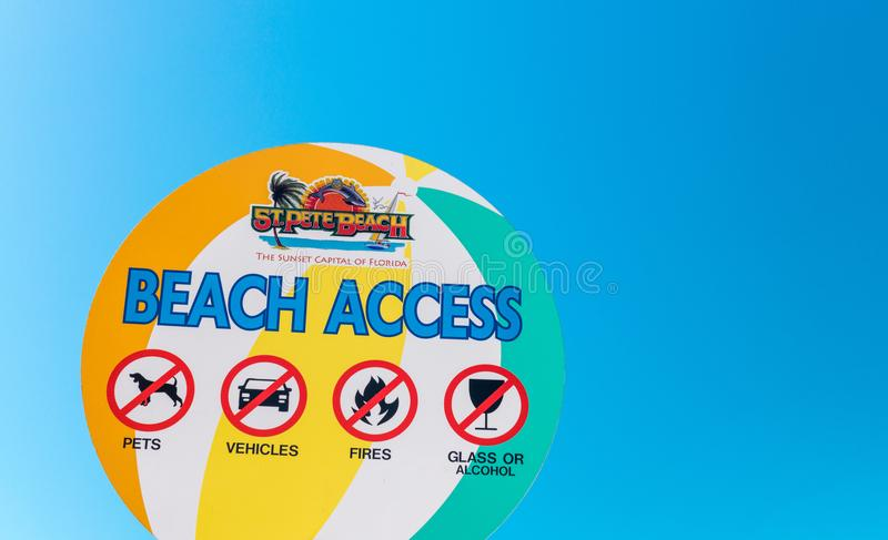 ST PETERSBURG, FL - FEBRUARY 5, 2016: Beach access sign. St Pete. Beach is a famous attraction in Florida royalty free stock photo