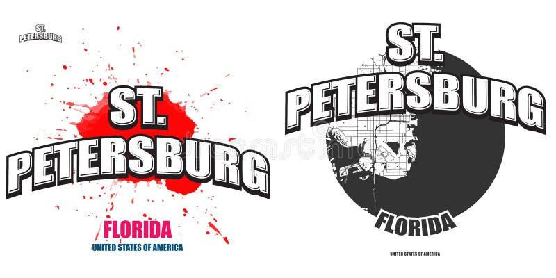 St Petersburg, Florida, duas artes finalas do logotipo ilustração stock