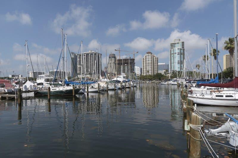 St Petersburg Florida USA den centrala yachthandfatet arkivfoton
