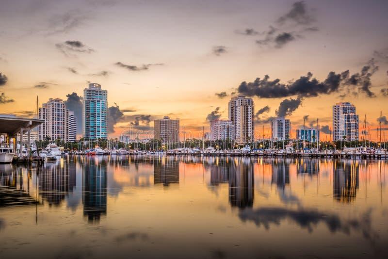 St. Petersburg, Florida, USA. Downtown skyline at dusk stock photos