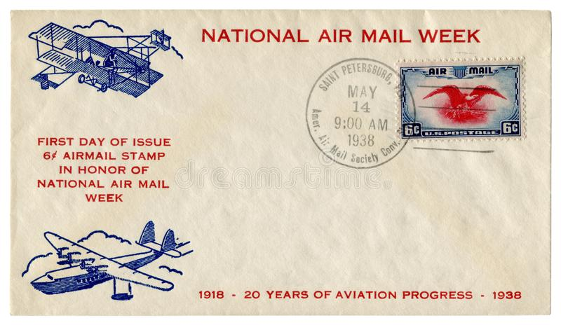 St. Petersburg, Florida, The USA  - 14 May 1938: US historical envelope: cover with cachet National Air mail week, old airplane an royalty free stock photo