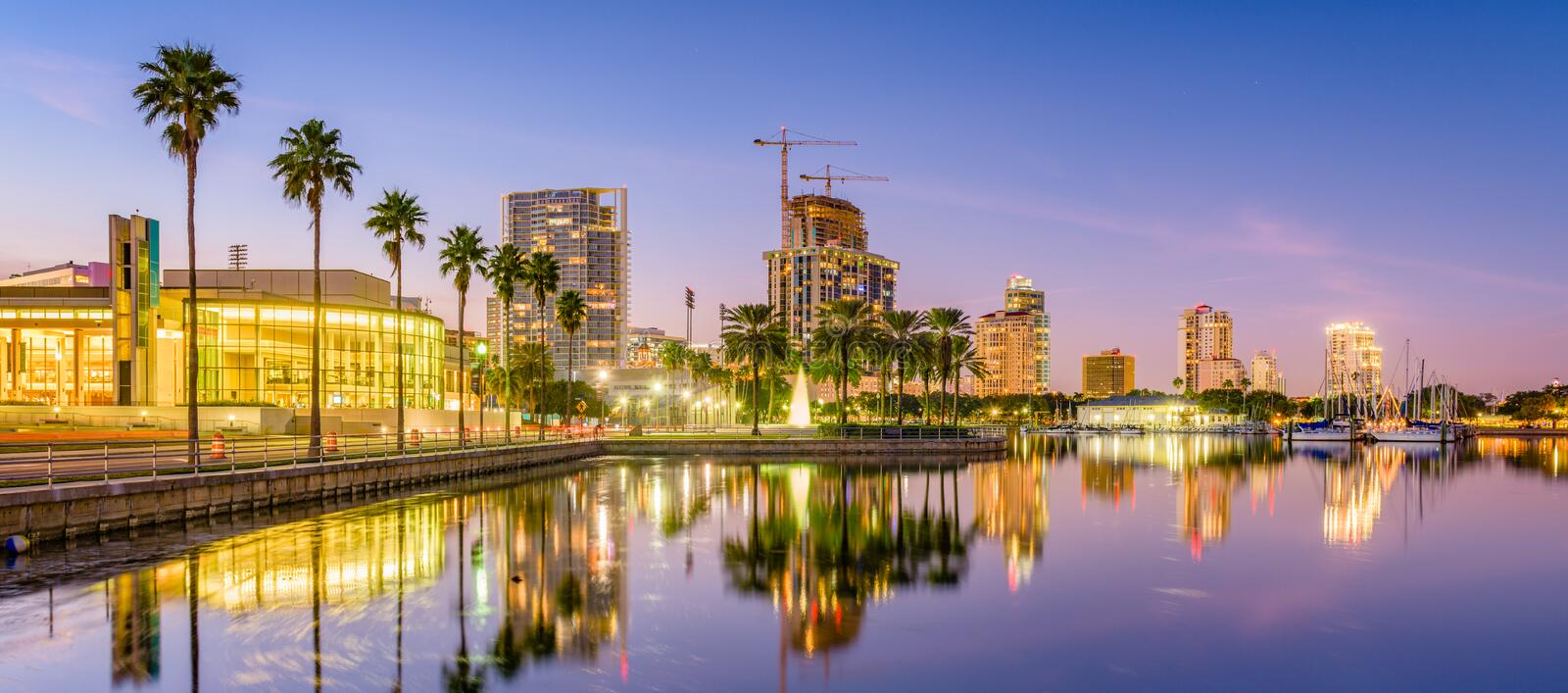 St. Petersburg, Florida, USA Skyline. On the water at sunset royalty free stock images
