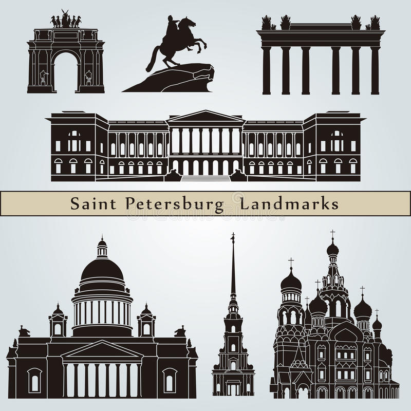 St Petersburg gränsmärken och monument vektor illustrationer