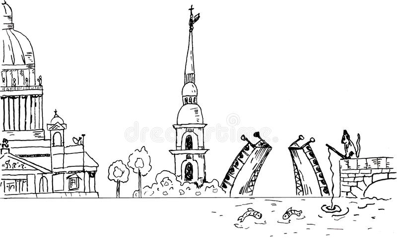 St Petersburg himmellinje vektor stock illustrationer
