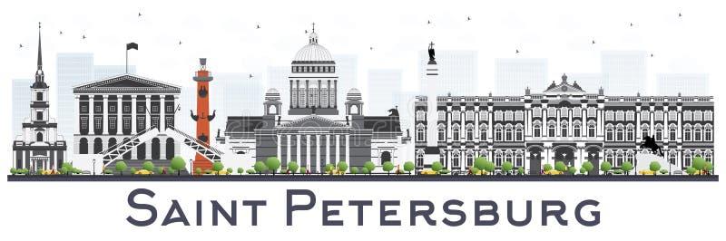 St Petersburg horisont med färgbyggnader som isoleras på vit stock illustrationer