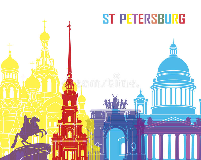 St Petersburg horisontpop royaltyfri illustrationer