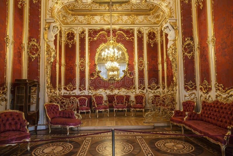 St Petersburg Inre budoar av kejsarinnan Maria Alexandrovna, frun av den ryska kejsaren Alexander II royaltyfria bilder