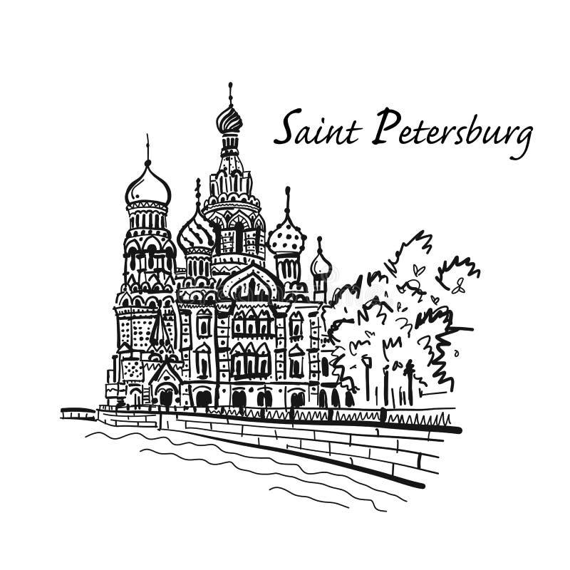 St Petersburg Kirche des Retters auf verschüttetem Blut Russland Skizze für Ihren Entwurf lizenzfreie abbildung