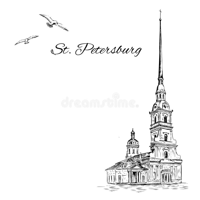 St. Petersburg landmark, Russia, Peter and Paul Fortress in St. Petersburg, Vector sketch with space for your text. Isolated on white background, hand drawn stock illustration