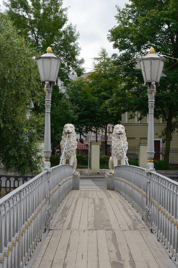 St Petersburg, le pont de lion image libre de droits