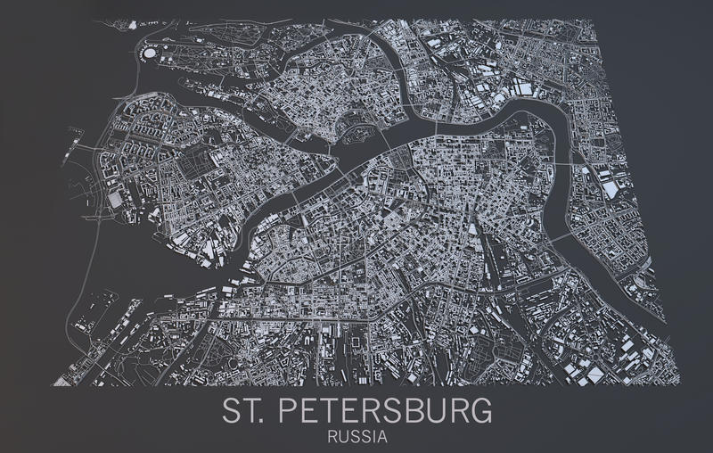 St Petersburg Map Satellite View Russia Stock Illustration