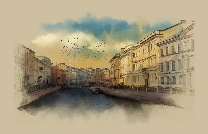 St Petersburg Moika flod invallning royaltyfri illustrationer