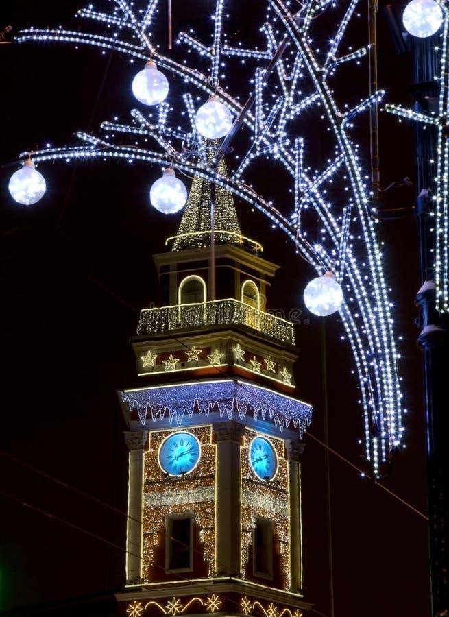 St Petersburg, nuit de Nevsky Prospekt, Russie photo libre de droits