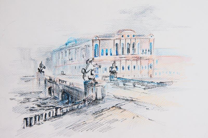 Download St. Petersburg stock illustration. Illustration of bridge - 33191812