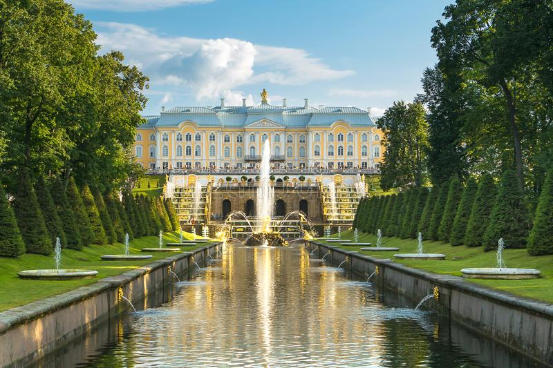 St. Petersburg, Peterhof, Russia. The Great Palace of Peter 1 in Peterhof. great view of the fountain cascade. stock image