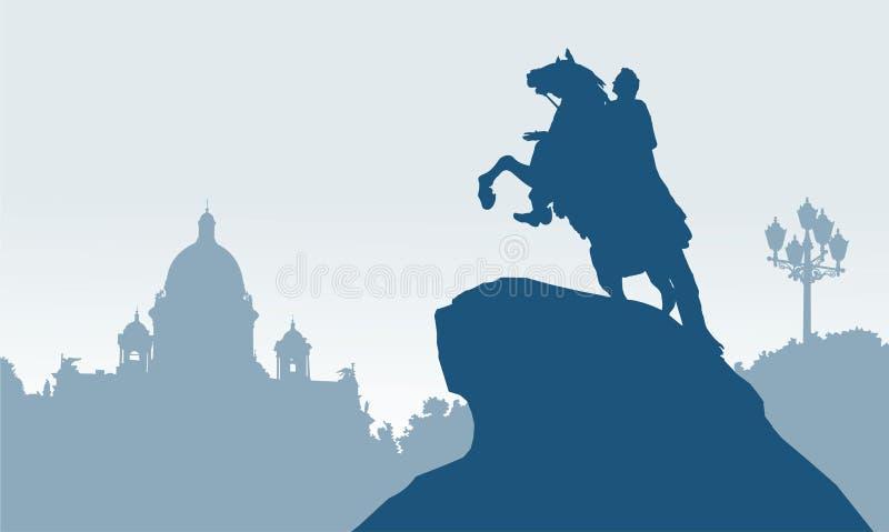 St Petersburg, Rússia, cavaleiro de bronze ilustração royalty free