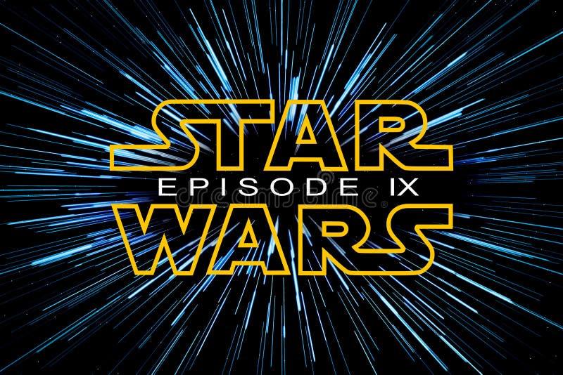 ST PETERSBURG, RÚSSIA - 6 DE ABRIL DE 2019: Os Star Wars são o título da trilogia e do nono episódio Editorial ilustrativo ilustração royalty free