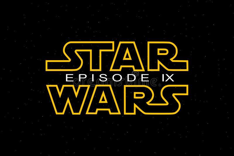 ST PETERSBURG, RÚSSIA - 6 DE ABRIL DE 2019: Os Star Wars são o título da trilogia e do nono episódio Editorial ilustrativo ilustração stock