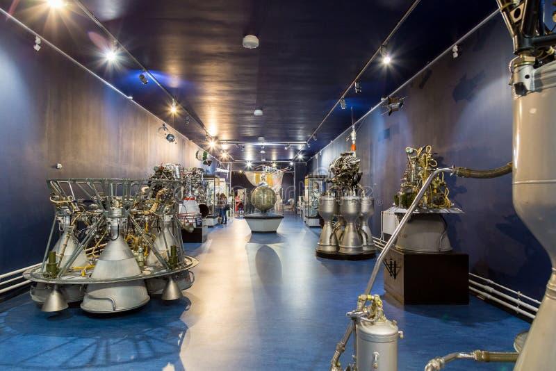 St Petersburg, Rússia - 13 de maio de 2017: Museu de espaço de St Petersburg do motor de foguete do russo fotos de stock