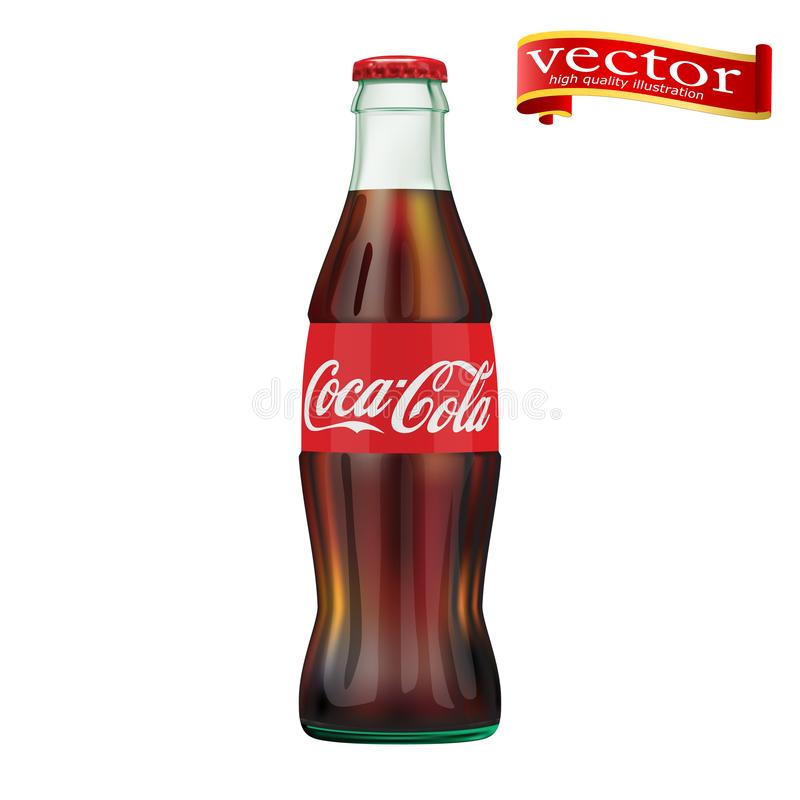 St Petersburg, Rússia, o 30 de setembro de 2018 Ilustração da garrafa de Coca-Cola ilustração stock