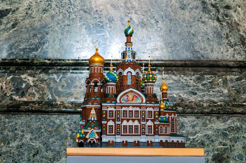 St Petersburg, R?ssia Catedral de nosso salvador no sangue Spilled - vista interior Réplica diminuta da catedral fotografia de stock royalty free
