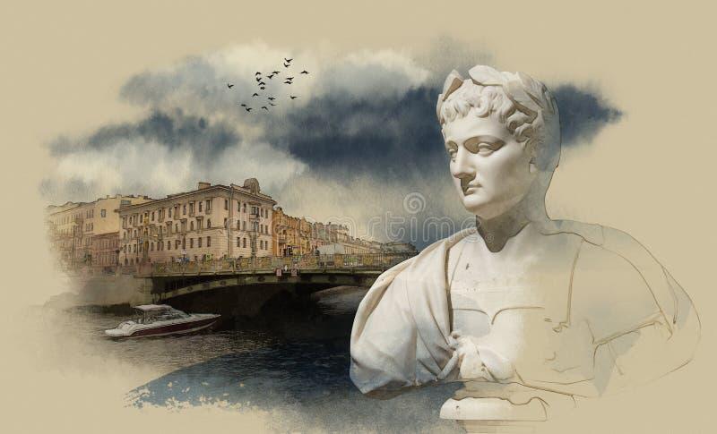 St Petersburg, rio de Fontanka ilustração do vetor
