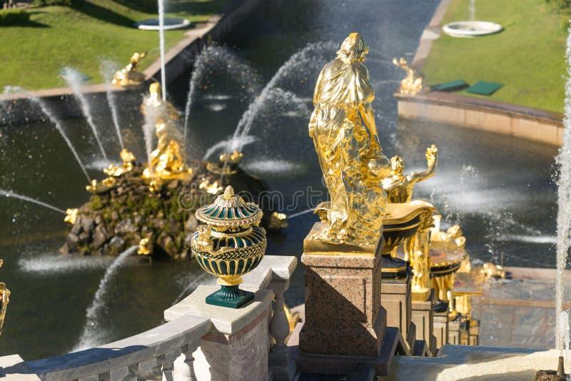 St Petersburg Rosja, Czerwiec, - 28, 2017: kaskada fontanny w Peterhof w St Petersburg Petersburg obrazy royalty free
