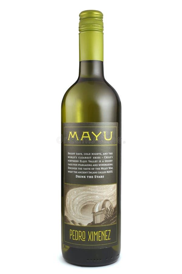 ST PETERSBURG ROSJA, Grudzień, - 26, 2015: Butelka Mayu Pedro Ximenez, Elqui dolina, Chile obraz stock