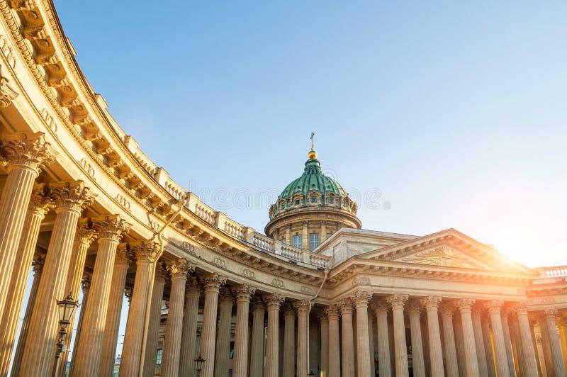 St Petersburg, Rosja, Kazan Katedralny fasadowy widok fotografia royalty free