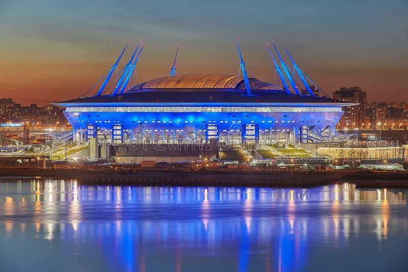 St Petersburg, Rosja, rosyjski stadium budował dla 2018 pucharów świata obrazy stock