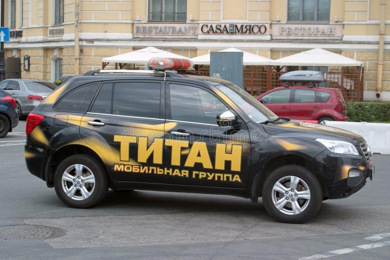 St Petersburg, Rusia - 25 de agosto de 2018: Compañía de seguridad rápida del grupo de la respuesta de Lifan X60 del coche Vista  imágenes de archivo libres de regalías