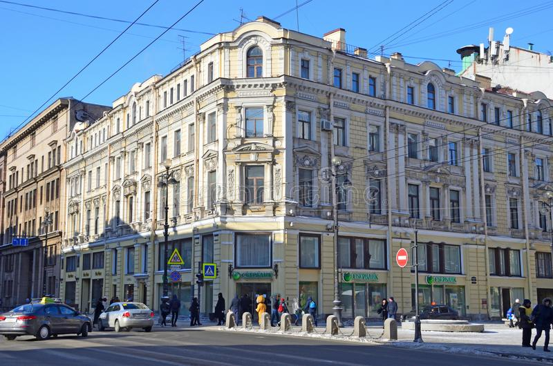 St Petersburg, Rusia, febrero, 27, 2018 La casa de L J Ovtsov - edificio de apartamentos de S M Tedeski en la perspectiva de Nevs fotografía de archivo