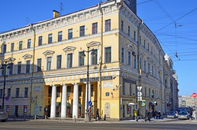 St Petersburg, Rusia, febrero, 27, 2018 Perspectiva de Nevsky, casa 18 Casa de I g Neyman - casa K B Kotomin, 1741, 1812-181 imágenes de archivo libres de regalías