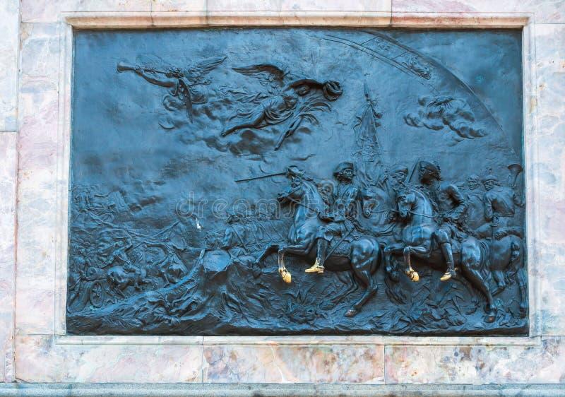 St Petersburg, Rusland Brons bas-hulp de Slag van Poltava bij het brons ruitermonument aan Peter I royalty-vrije stock afbeelding