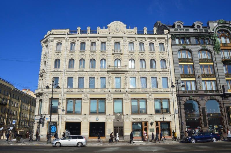 St. Petersburg, Rusland, 27 Februari, 2018 Voordelig huis van G I Gansen bouwde de jaar van 1873-1874 in stock foto
