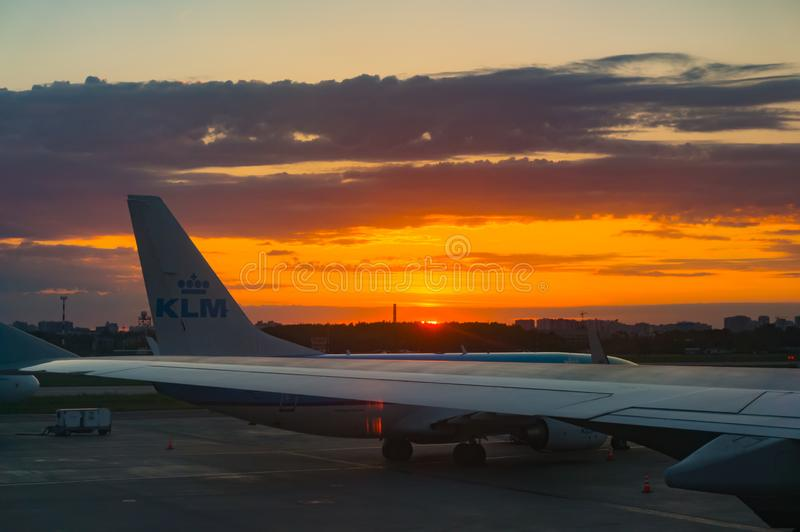 St. Petersburg, Russia - 06.02.2018: Airport at sunrise. View from the airplane window stock photo