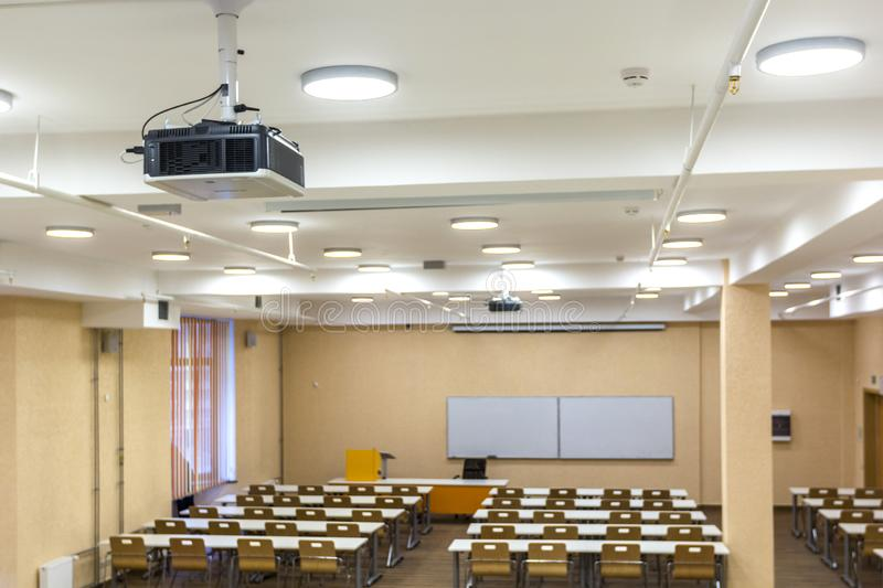 Interior of empty University audiences modern school classroom for student during study, lecture and conference stock images
