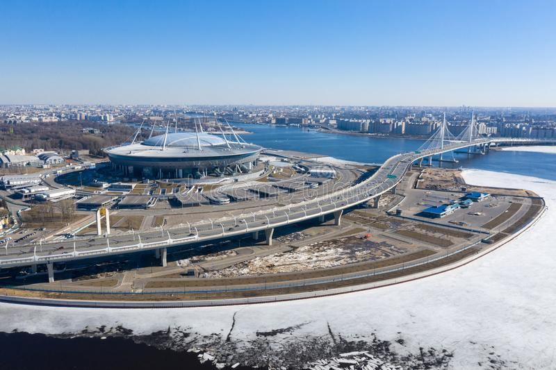 ST. PETERSBURG, RUSSIA - APRIL, 2019: Panoramic winter aerial view of the Zenith Arena stadium in St. Petersburg and its stock photos