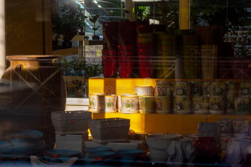 Bright sunlight in a flower shop window in the early morning. abstraction of light and shadow royalty free stock photos