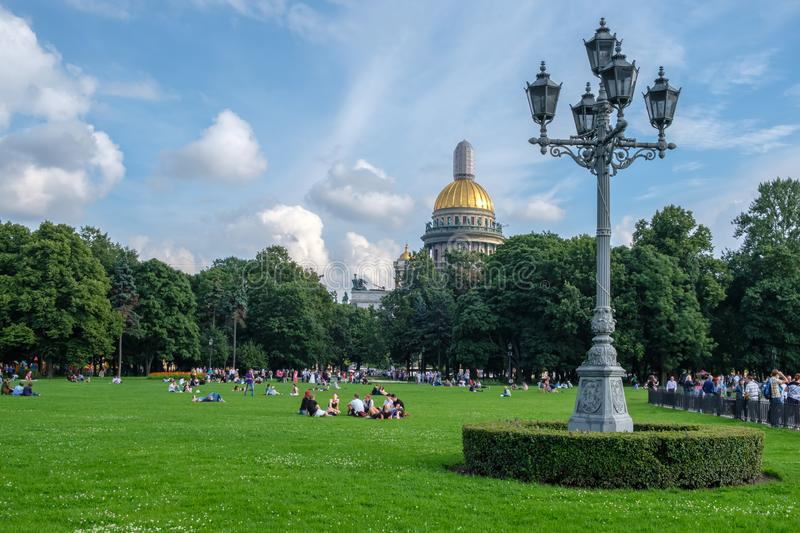 St. Petersburg, Russia, August 18, 2017 - City Park on the background of the Saint Isaac`s Cathedral Isaakievskiy Sobor.  stock images