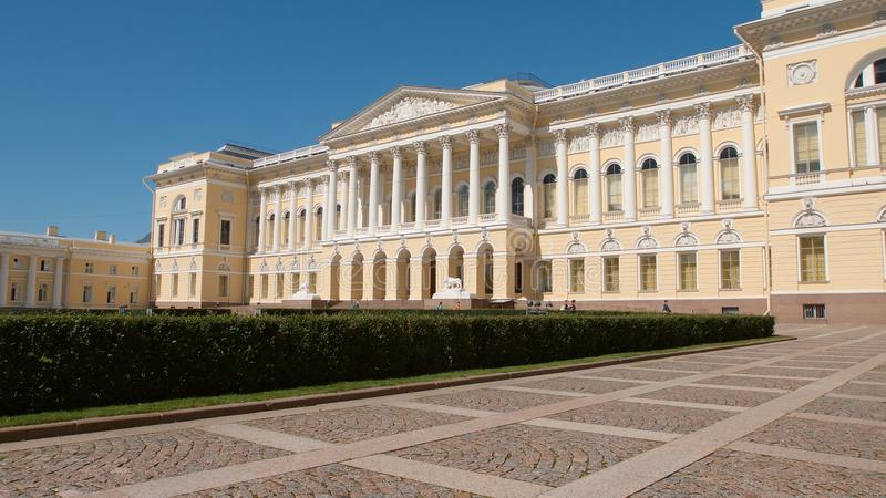 Facade of the Russian Museum in the summer sunny day stock image