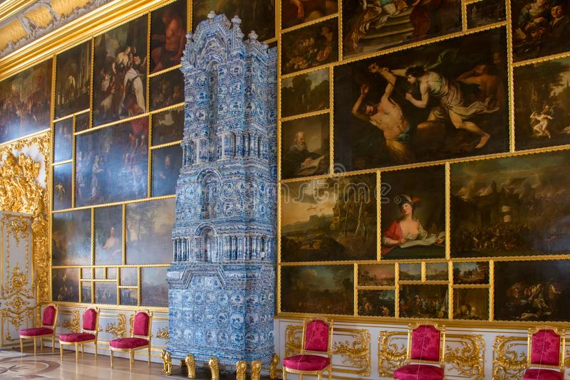 Picture Hall. ST.PETERSBURG, RUSSIA - AUGUST 19, 2017: A fragment of the Picture hall of the Catherine Palace. Tsarskoe Selo Pushkin, St. Petersburg, Russia royalty free stock photos
